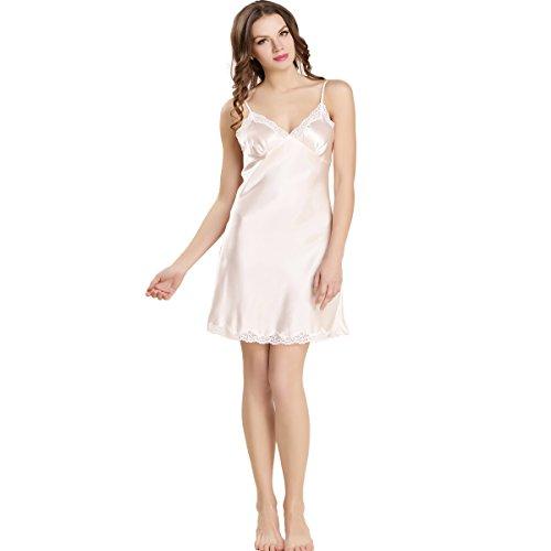 Da Rose 100 Notte Seta Vestito Notte Delle Donne Da Pink Camicia Pura Lovesilk wHABAtrqPx
