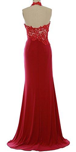 MACloth Women Mermaid Halter Lace Long Formal Evening Dress Wedding Party Gown Lavanda