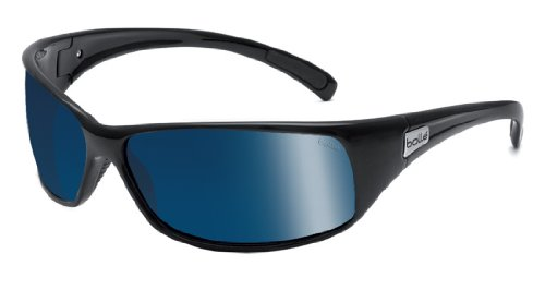 Bolle Recoil Sunglasses, Shiny Black with P Blue - Polarized Recoil Bolle