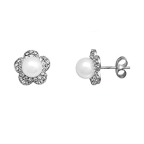 Boucled'oreille 18k blanc perle d'or 6mm. zircons cultivées [AA6055]