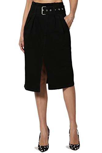 TheMogan Women's 80s Belted High Waist Front