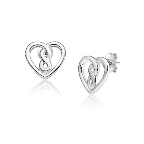 Sterling Silver Infinity Heart Stud Earrings, Nickle Free Hypoallergenic Unisex Cartilage