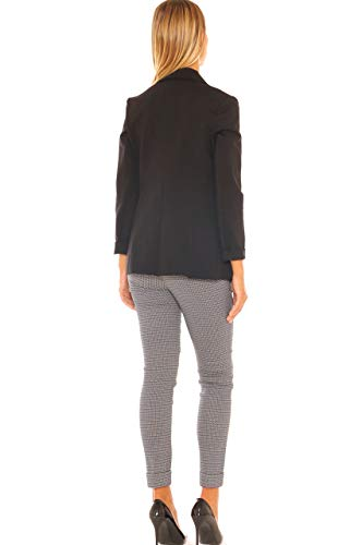 Donna Nero Comfort Fit Jersey Giacca In Slim Stretch 7qcvga