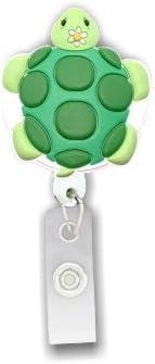 Turtle 3D Rubber Retractable Badge Holder