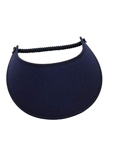 Pickleball - Fashion Fabric Foam Sun Visor for Women -The Sporty Look - Adjustable to Any Size Head - No Pressure & No Headache! -Solid Navy Blue w/Trim