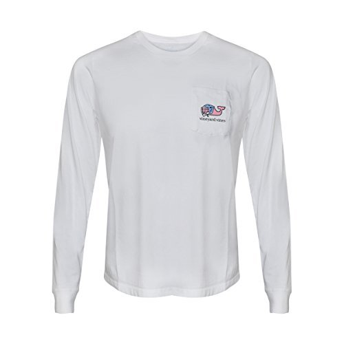 Vineyard Vines Mens Signature Graphic Long Sleeve Pocket T-Shirt (I Whale Lax White, S) from Vineyard Vines