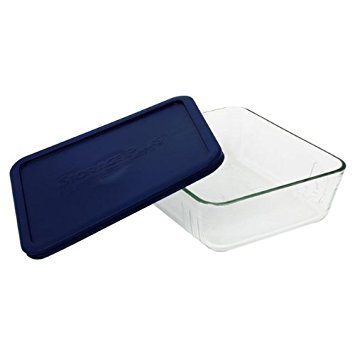 Pyrex 11 Cup Storage Plus Rectangular Dish With Plastic Cover Sold in packs of 2 (12 Cup Glass Container)