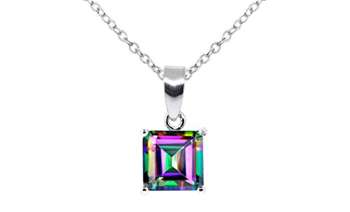 NYC Sterling Womens Silver Rainbow Fire Shiny Lab Created Mystic Topaz 1.58 Carat Cubic Zirconia Stud Earrings (Princess Cut Pendant)