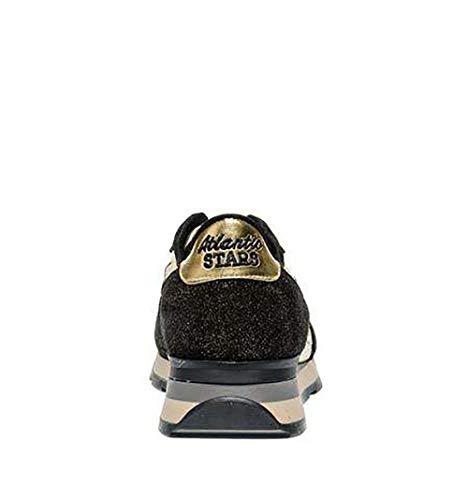 Zapatillas Atlantic Vegago79n oro Negro Cuero Mujer Stars wrESqxIrtY