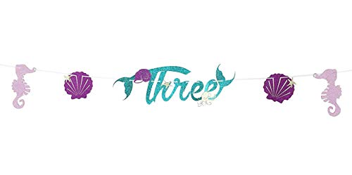 2018 New Design, Cute, Sparkle Glitter, Mermaid Style Bunting Banner, Mermaid Party Supplies Decorations, For Mermaid Themed Birthday Party, Anniversary Party Decorations (Three)