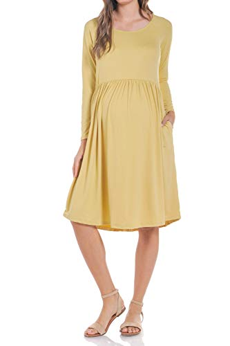 Beachcoco Women's Maternity Loose Fit Dress (Small, Mustard) by Beachcoco