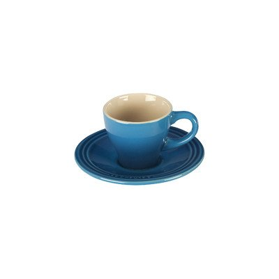 Le Creuset Stoneware Set of 2 Espresso Cups and Saucers, Marseille (2 Cup Saucer Sets)