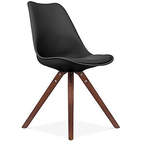 Viborg Black Side Chair Walnut Base Set Of 2
