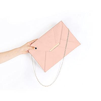GESSY Women Faux Suede Envelope Clutch Chain Strap Magnet Hook Purse with Pocket