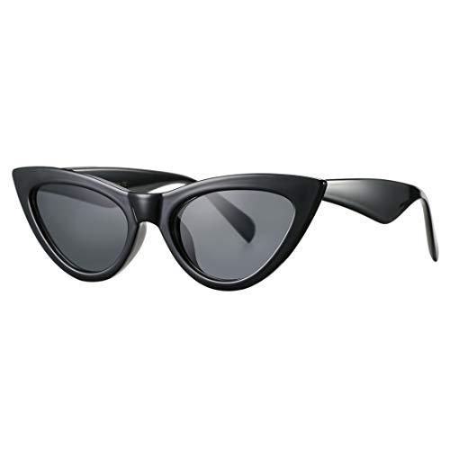 Retro Small Cateye Sunglasses for Women Fashion Mirror UV400 Protection Narrow Slim Cat Eye Sun Glasses(Black Frame/Grey Lens)