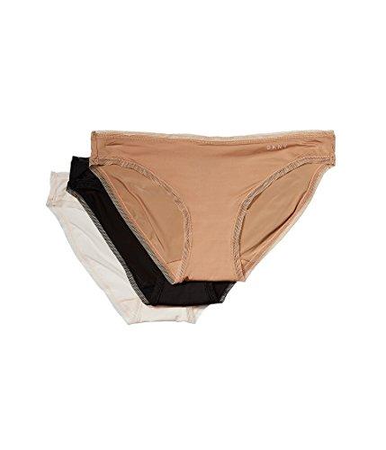 DKNY Intimates Women's Three Pack Litewear Bikini Glow/Black/Vanilla X-Large