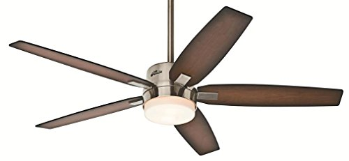 (Hunter Windemere 54-in Brushed Nickel Indoor Downrod Mount Ceiling Fan with Light Kit and Remote)
