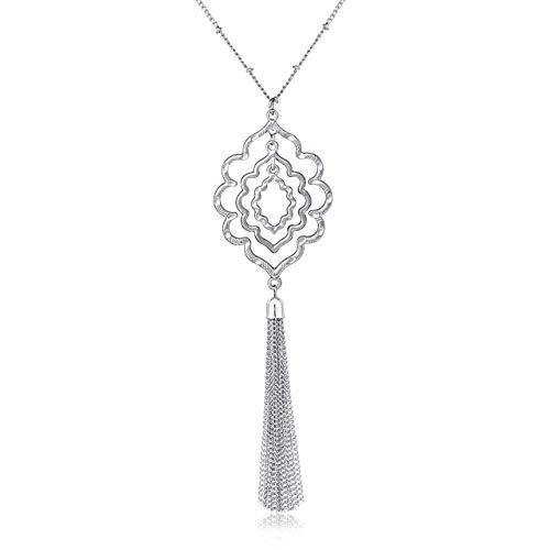 Linked Long Necklace - MOLOCH Long Necklaces for Woman Minimalist Geometric Circle Pendant Necklaces Bohemia Tassel Fringe Necklace Set Statement Pendant (Silver)