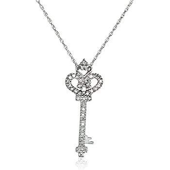 Amazon 14k white gold diamond heart and key pendant 110 cttw 14k white gold diamond heart and key pendant 110 cttw i j color aloadofball Images