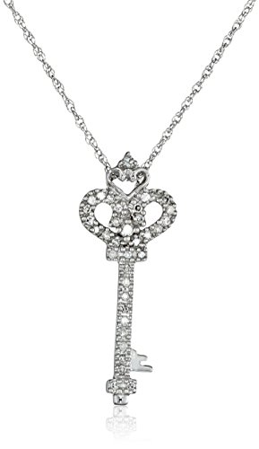 14k White Gold Diamond Heart and Key Pendant (1/10 cttw, I-J Color, I2-I3 Clarity), 18
