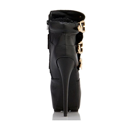 Autumn NVXIE Ankle Ladies Winter Women Short EUR36UK354 Leather BLACK Stiletto High Waterproof Heel Shoes Boots Camouflage Metal Button Spring HZHq1xn