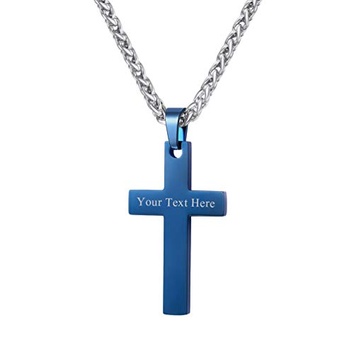 PROSTEEL Personalized Custom Blue Cross Necklaces Pendants Christian Jewelry for Men Women Unisex Easter Gift Inspirational Catholic Cross