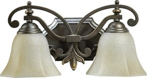 Quorum International 5031-2-86 Vanity Lights with Amber Scavo Shades, Oiled Bronze - Amber Scavo Vanity