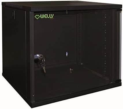 """Welly Enjoy WY40000 Schrank Rack 19"""", 6 Einheiten, Tiefe 450mm, schwarz, WxDxH:540x450x310mm RAL 9005"""