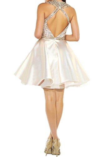 vestito vestito della ressing da cocktail pietre Avorio ivyd Fest Damen abito sera linea festa Mini da a Rueckenfrei Zaertlich q6Xdvpw1