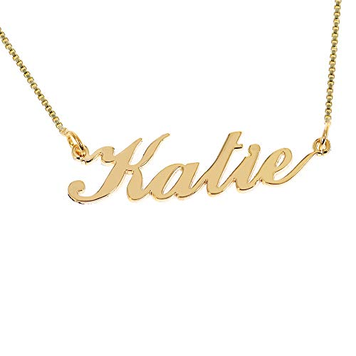 (Iprome Custom Personalized Initial Birthstone Name Necklace Pendant with Box Chain 18K Gold Gifts for Women (Katie))