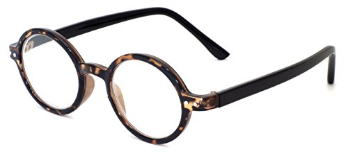 Calabria R421 Unisex Vintage Oval Reading Glasses IncTortoiseibly Lightweight and Comfortable in Tortoise - Vintage Circular Glasses