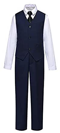Suit for Boys Slim Fit Kids Suits with Vest Pants Shirt and Tie for Wedding Navy Blue Size 2T