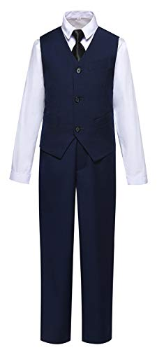 Suit for Boys Slim Fit Kids Suits with Vest Pants Shirt and Tie for Wedding Navy Blue Size 6