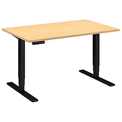 Move 80 Series by Bush Business Furniture 48W x 30D Height Adjustable Standing Desk in Natural Maple with Black Base