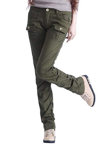 AUSZOSLT Women's Casual Stretch Utility Pocket Skinny Cargo Pants Jeans with Zipper Army Green M