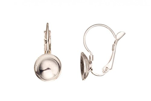 4Pcs Silver Plated French Hook Earrings Findings With 8mm Bezel Cup And Peg