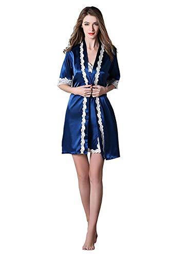 Seda Pijama De Brillo Conjunto Navy Casa Cálido Camisón Mujer Ropa Esencial Conjuntos Para Verano Dos Noche Cálida Sheae Piezas Encaje P5fwdxqn6