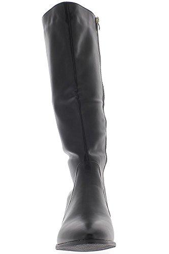 Große weibliche Taille schwarze Stiefel verdoppelte sich auf 3cm Absatz