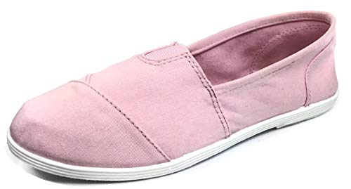 (Womens Canvas Slip-On Shoes with Padded Insole, Pink, 7.5)