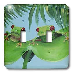 3dRose lsp_44372_2 2 Tree Frogs On A Big Palm Leaf Double Toggle Switch