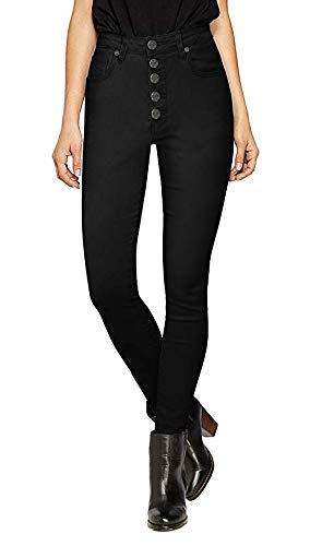 HyBrid & Company Womens Super Stretch 5 Button Hi-Waist Skinny Jeans BlackTwill 14 ()
