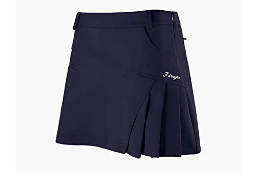 ゴルフスカート ゴルフウェア プリーツスカート ゴルフ定番ウェア (S, 青)