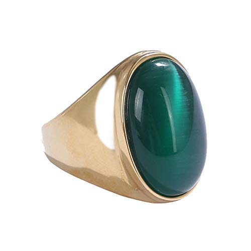 Oakky Men's Stainless Steel Oval Cat Eye Gemstone Ring Gold Green Size 7