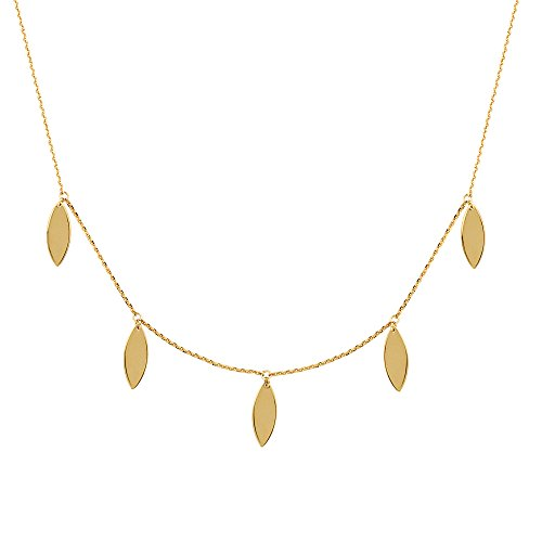 14k Marquise Necklace - Choker Necklace 14k Yellow Gold with Marquise Leaf Dangles Adjustable Length