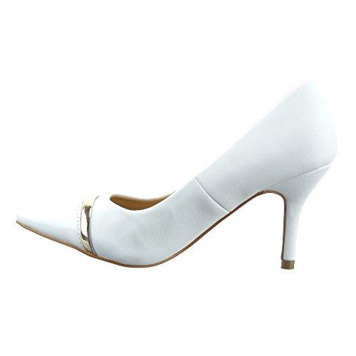 Sopily - Scarpe da Moda scarpe decollete Stiletto decollete alla caviglia donna flashy metallico Tacco Stiletto tacco alto 8 CM - Bianco