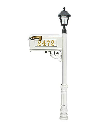 Mailbox w/Post Ornate Base & Solar Lamp, with Vinyl Numbers, White ()