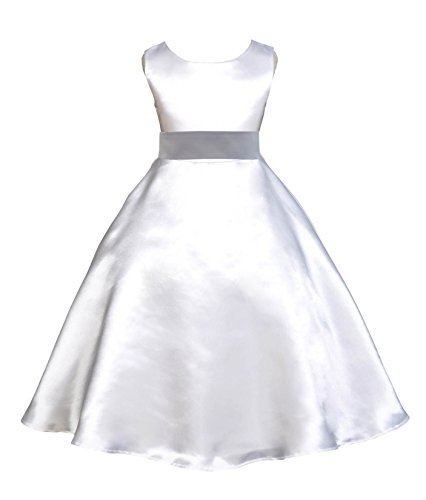 ekidsbridal White A-Line Satin Flower Girl Dress Junior Bridesmaid Dress Ball Gown 821S 14 ()