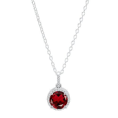 Dazzlingrock Collection 18K 6.5 MM Round Garnet & Round White Diamond Ladies Halo Pendant, White Gold (18k White Gold Garnet Pendant)