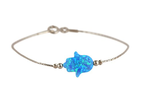 Sterling Silver Hamsa Bracelet - Hamsa Bracelet Multi Color Created Opal Charm Judaica Kabbalah Evil Eye Hand Sterling Silver Chamsa Bracelet (Light Blue)