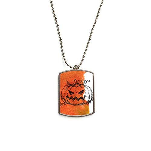 DIYthinker Hand Painted Pumpkin of Halloween Stainless Steel Dog Tag Pendant Necklace (Best Painted Pumpkin Ideas)